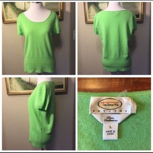 Talbots Cashmere Like New Green Sweater In LP